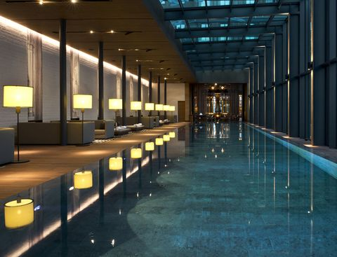 Architecture, Building, Interior design, Room, Ceiling, Glass, Lobby, Convention center, Leisure, Night,
