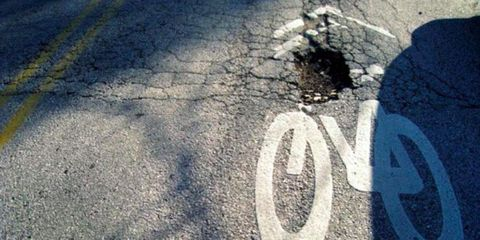 Potholes. Bane of road biking everywhere.