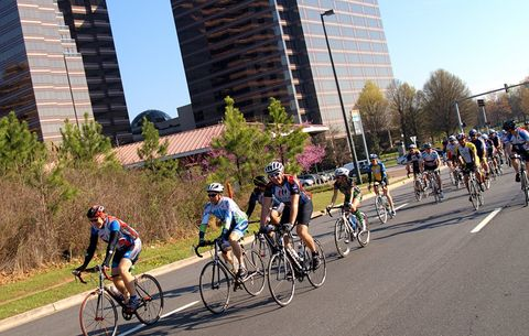 A group of cyclists enjoying a ride in downtown Atlanta.