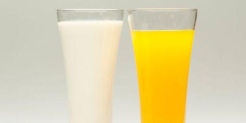 orange juice and milk