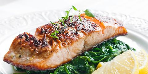 salmon and spinach meal