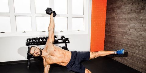 weighted side plank oblique workout