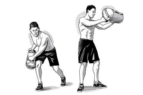 sandbag shoveling oblique exercise
