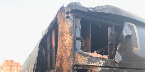 Aqua Blue Sport Team Bus Attacked by Arsonist