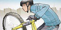 Bicycle tire, Bicycle frame, Bicycle wheel rim, Bicycle wheel, Bicycle, Bicycle part, Recreation, Cycling, Helmet, Elbow,