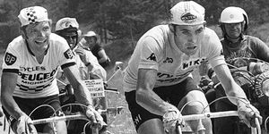 Eddy Merckx leads Frenchman Bernard Thévenet during the 15th stage of the 1975 Tour de France one day after being punched on the Puy du Dome.