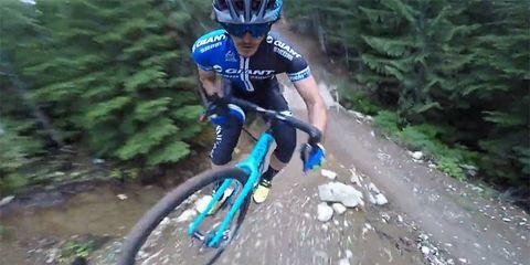 Yoann Barelli riding Whistler's A-Line trail