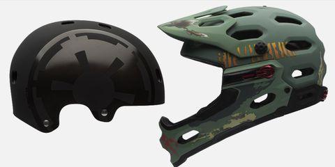 The Darth Vader-inspired Segment helmet, left, and Boba Fett-inspired Super 2R helmet, right.