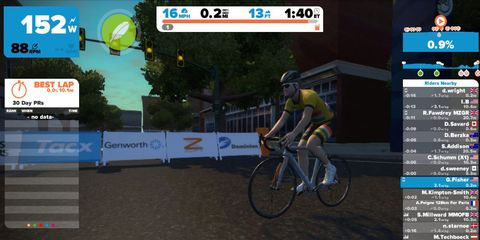 Screenshot of Zwift indoor training game for cycling