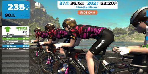 Canyon-SRAM women's pro cycling team riding in Zwift virtual training environment