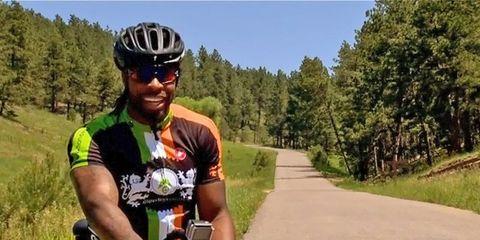 Denver Broncos safety David Bruton Jr. on a road ride