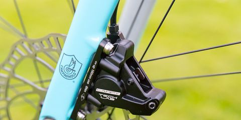 Campagnolo finally showed off it's long-rumored disc brake, but offered no tech details