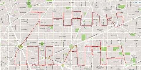Cyclist thanks Obama with a stunning display of Strava art.