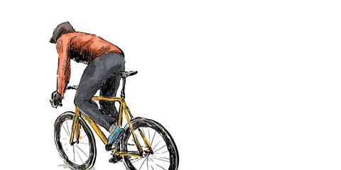 cyclist new yorker drawing fixie