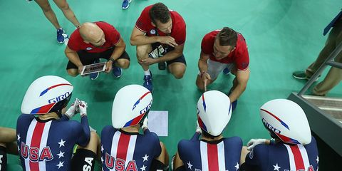 Team United States prepares to compete in the women's team pursuit on Day 8 of the Rio 2016 Olympic Games in Rio de Janeiro, Brazil.