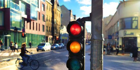 stoplight cyclist