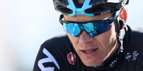 Britain's Chris Froome of team Sky reacts after the fourth stage of Tour de Romandie, a 163.5km ride from Domdidier to Leysin, on April 29, 2017.