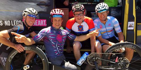 Double amputee competes in RAAM on a handcycle.