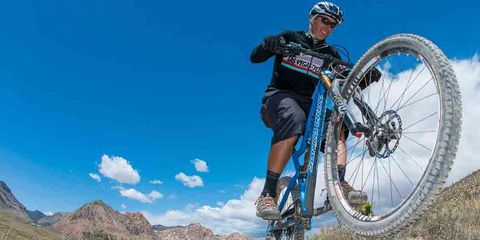 governor candidate jared fisher riding his mountain bike