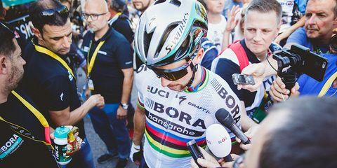 Peter Sagan talking to press after stage 4 of Tour de France 2017