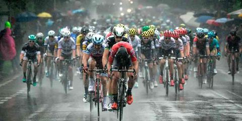stage two was rainy and riddled with crashes