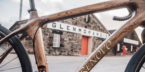 Close up of a bike frame at Glenorangie Distillery