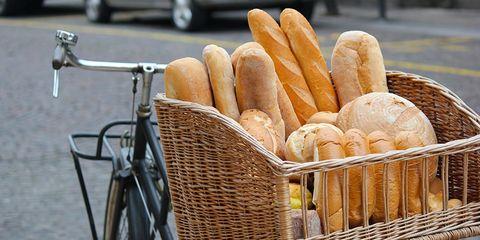 bread in a bike basket