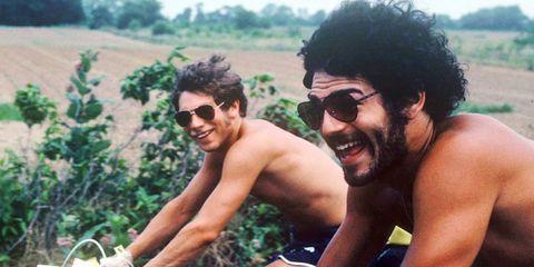 author's father on bike trip
