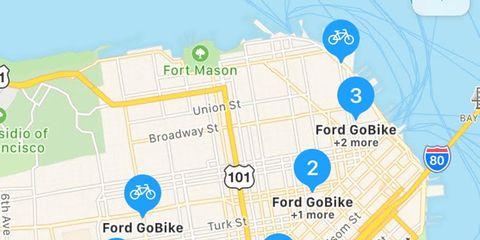 Apple Maps Bike Share San Francisco