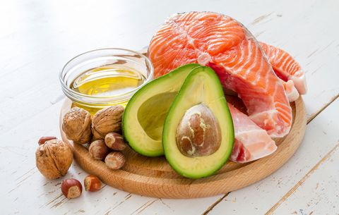 base training burns fats, so this is a plate full of delicious fatty foods, like fish avocado and nuts