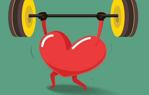 an illustration of a heart lifting weights