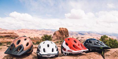 Bell Mountain Bike Helmets on Rocks