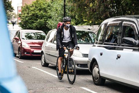 Cyclist riding in traffic