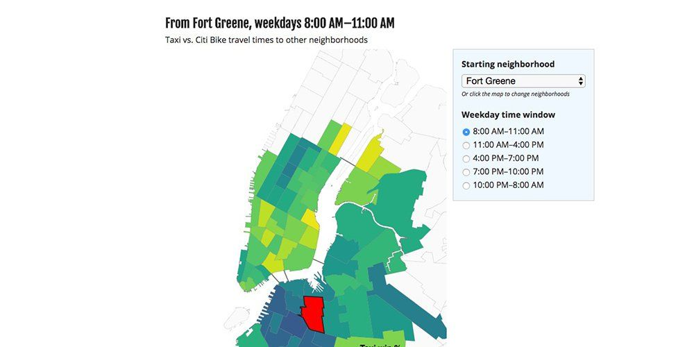 Interactive Map Shows When Biking Is Faster Than Taking A Cab