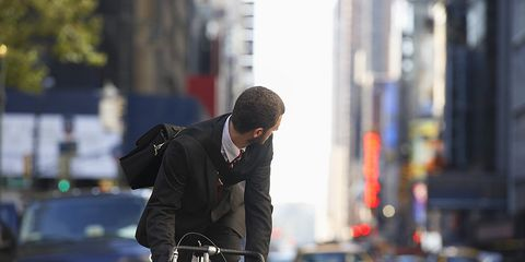 Cyclist Looking Out for Cars