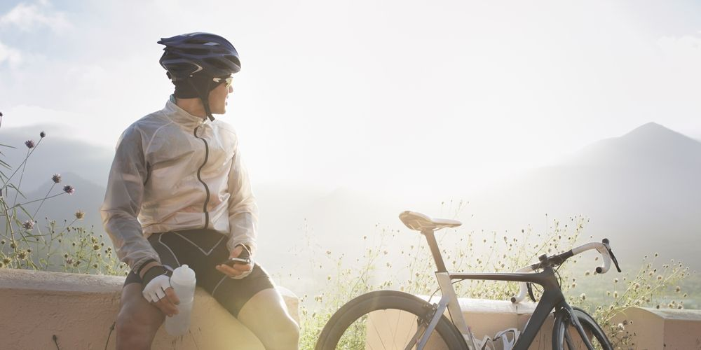 cyclist resting with nausea
