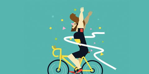 Cyclist Victory Salute