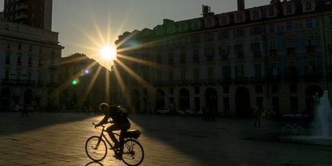 Cyclist in sun