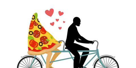 graphic of cyclist on tandem bike with slice of pizza