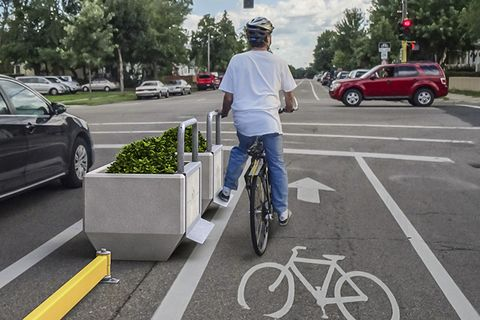 Dero planters, rails, and footrests for protected bike lanes