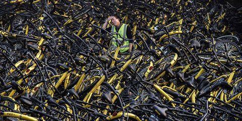 Damaged Ofo Dockless Bike Share Bikes