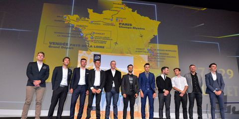 Chris Froome and Tom Dumoulin at the 2018 Tour de France Route Announcement