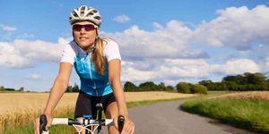 happy training cyclist