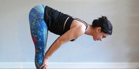 Yogi performing a forward fold and tabletop pose