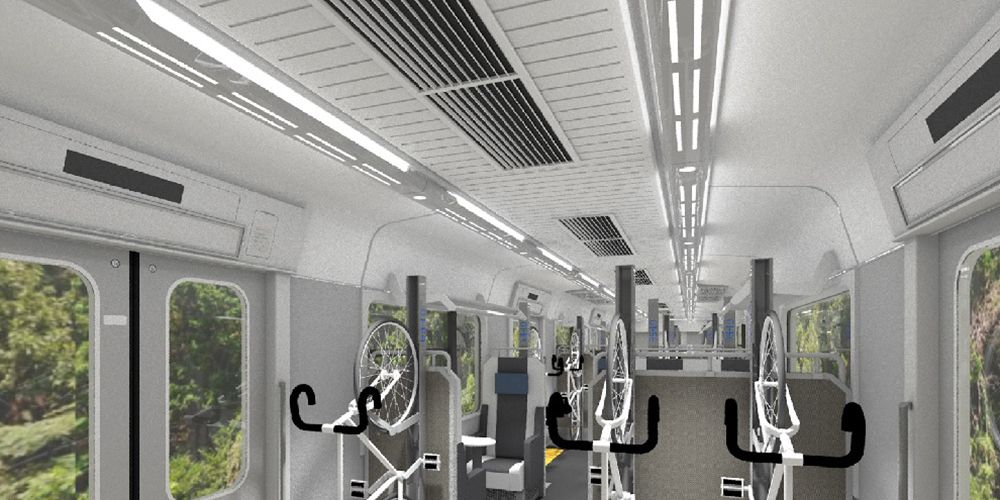 This japanese train is specifically for bike commuters bicycling