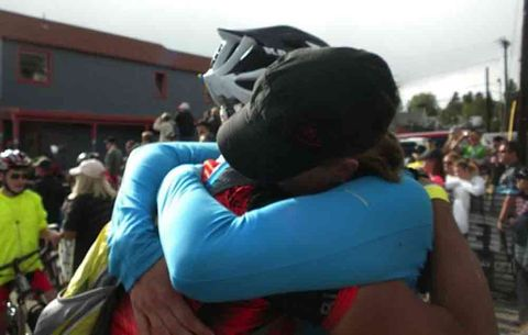 Klausutis hugging at the finish