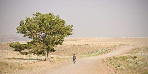 A cyclist riding through the desert.