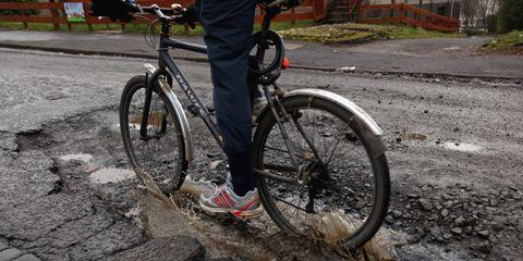 Bicycle Striking Pothole