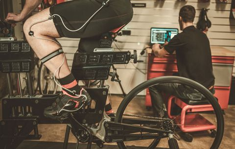 Athlete doing FTP test with coach