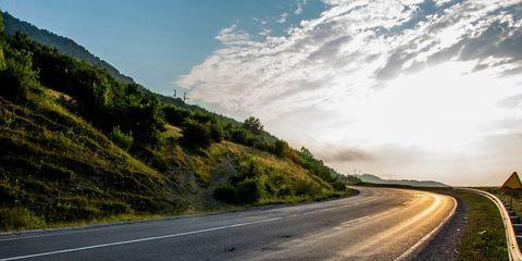 sunlit side of road